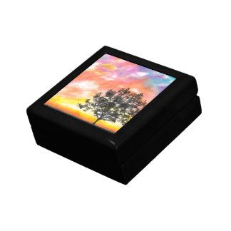 Sunset Tree Landscape Small Square Gift Box