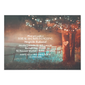 Sunset Tree Lights Rustic Outdoor Bridal Shower 5x7 Paper Invitation Card