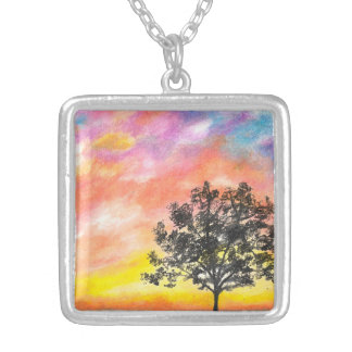 Sunset Tree Silver Plated Necklace