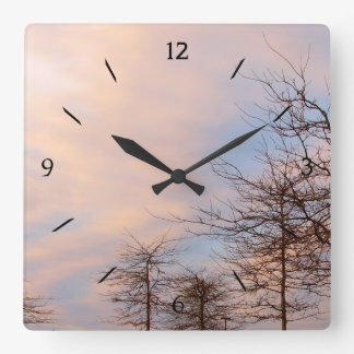 Sunset Trees In Winter Square Wall Clock