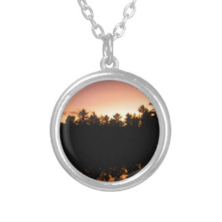 Sunset Trees Reflected on the Lake Silver Plated Necklace