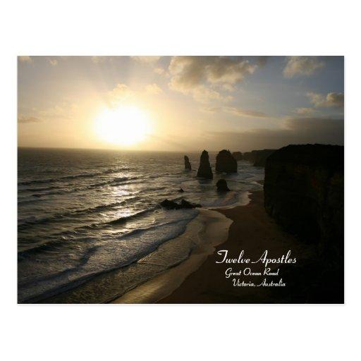 Sunset, Twelve Apostles, Great Ocean Road Postcard Post Cards