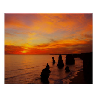 Sunset, Twelve Apostles, Port Campbell National Poster