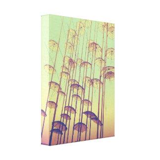 Sunset Umbrellas in Greece Custom Size Canvas Print