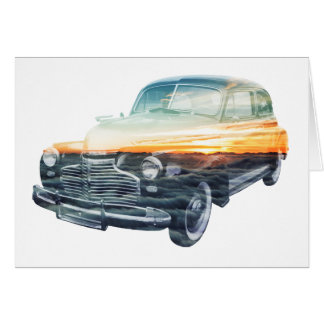 sunset vehicle double exposure greeting card