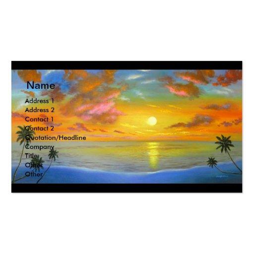 Sunset View Seascape Landscape Painting - Multi Business Card