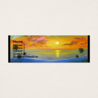 Sunset View Seascape Landscape Painting - Multi Mini Business Card