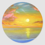 Sunset View Seascape Landscape Painting - Multi Round Sticker