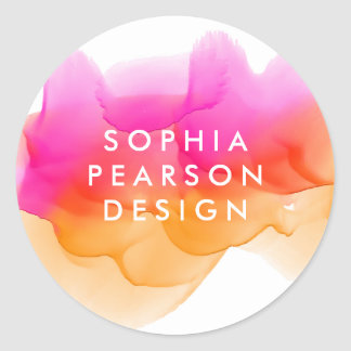 Sunset Watercolor Blot Round Sticker