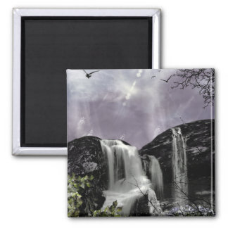 Sunset Waterfall Gothic Landscape fantasy Square Magnet