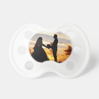 Sunset Wedding Couple Baby Pacifier