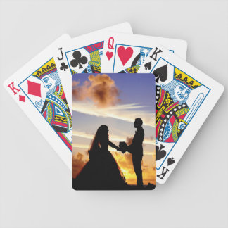 Sunset Wedding Couple Bicycle Playing Cards