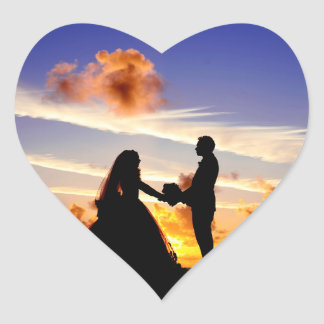 Sunset Wedding Couple Heart Sticker