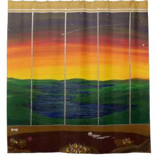 sunset window shower curtain