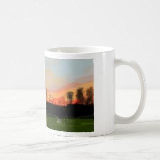 Sunset winter landscape painting coffee mug