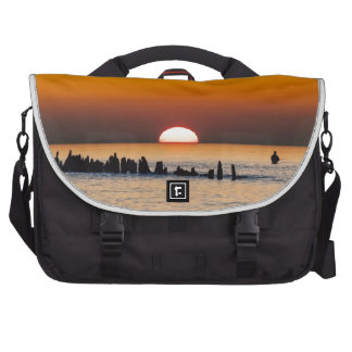 Sunset with angler on shore of the Baltic Sea Laptop Computer Bag
