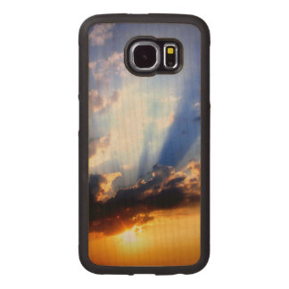 Sunset with Clouds, Beautiful Sky Wood Phone Case
