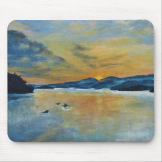 Sunset with Ducks Mouse Pad