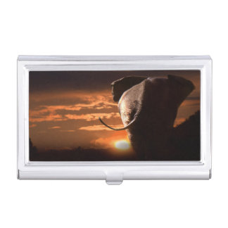 Sunset with Elephant Business Card Holder