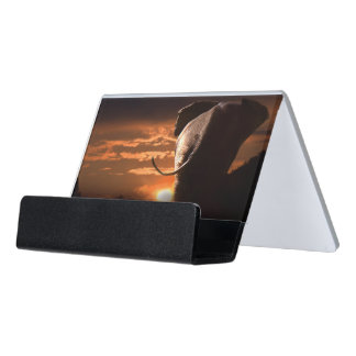 Sunset with Elephant Desk Business Card Holder