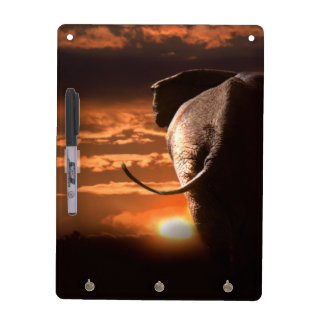 Sunset with Elephant Dry-Erase Board