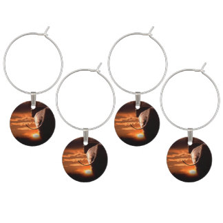 Sunset with Elephant Wine Glass Charms