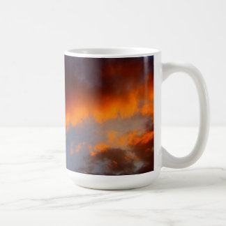 Sunset with Orange Clouds and Blue Sky Coffee Mugs