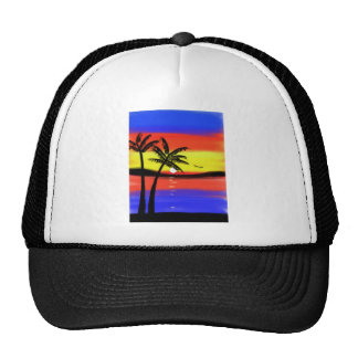 Sunset with Palm Trees Mesh Hats