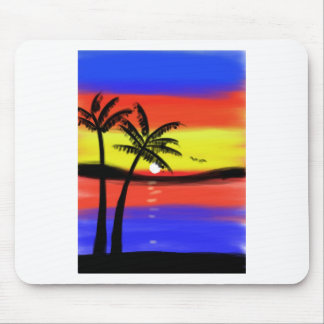 Sunset with Palm Trees Mousepads