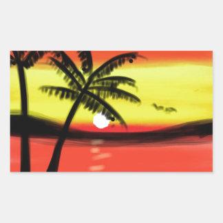 Sunset with Palm Trees Rectangular Sticker