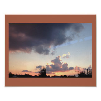 Sunset with Pine Tree Poster