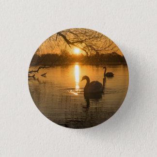 Sunset with Swan 3 Cm Round Badge