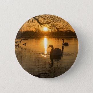 Sunset with Swan 6 Cm Round Badge