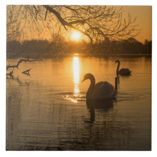 Sunset with Swan Ceramic Tile