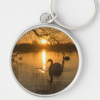 Sunset with Swan Key Ring