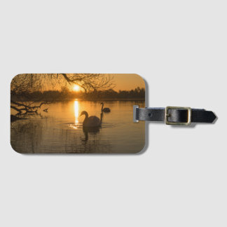 Sunset with Swan Luggage Tag