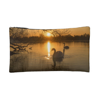 Sunset with Swan Makeup Bag