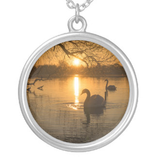 Sunset with Swan Silver Plated Necklace