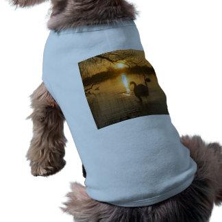 Sunset with Swan Sleeveless Dog Shirt