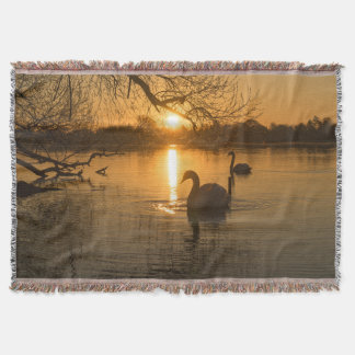 Sunset with Swan Throw Blanket