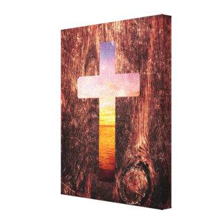 Sunset wood cross canvas print