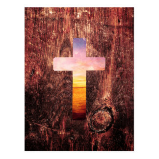 Sunset wood cross postcard