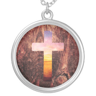Sunset wood cross silver plated necklace