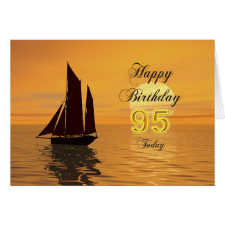 Sunset yacht 95th birthday card