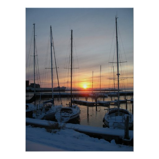 Sunset Yachts in Snow Photo Poster Print