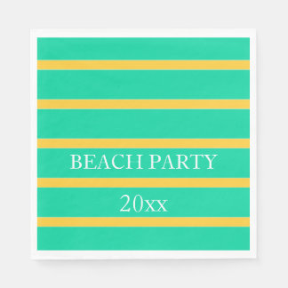Sunset Yellow Stripes on Beach Green Personalized Disposable Serviettes