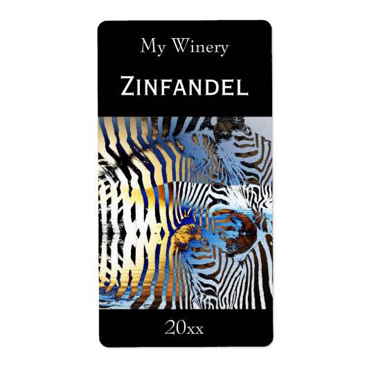 Sunset zebra abstract wine bottle label