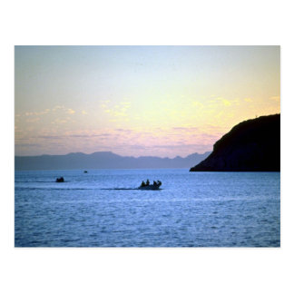 Sunset's afterglow, small boat on Sea of Cortez, M Post Card