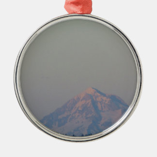 Sunset's Glow on the Mountain Silver-Colored Round Decoration