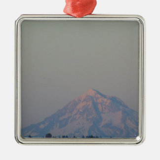 Sunset's Glow on the Mountain Silver-Colored Square Decoration